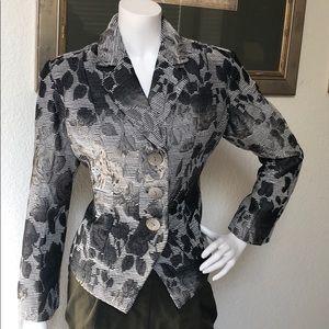ColdWater Creek Grey Floral Blazer Size P10